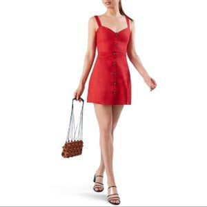 Reformation NWT Red Linen Button-Front Mini Dress